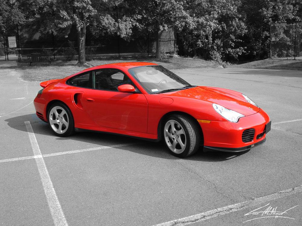 Porsche in red.