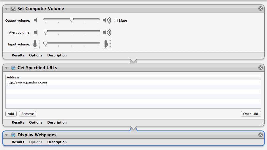 Screenshot of the Automator Workflow to launch Pandora.com as a morning alarm clock