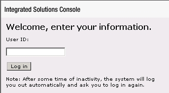 Login page of IBM WebSphere Integrated Solutions Console