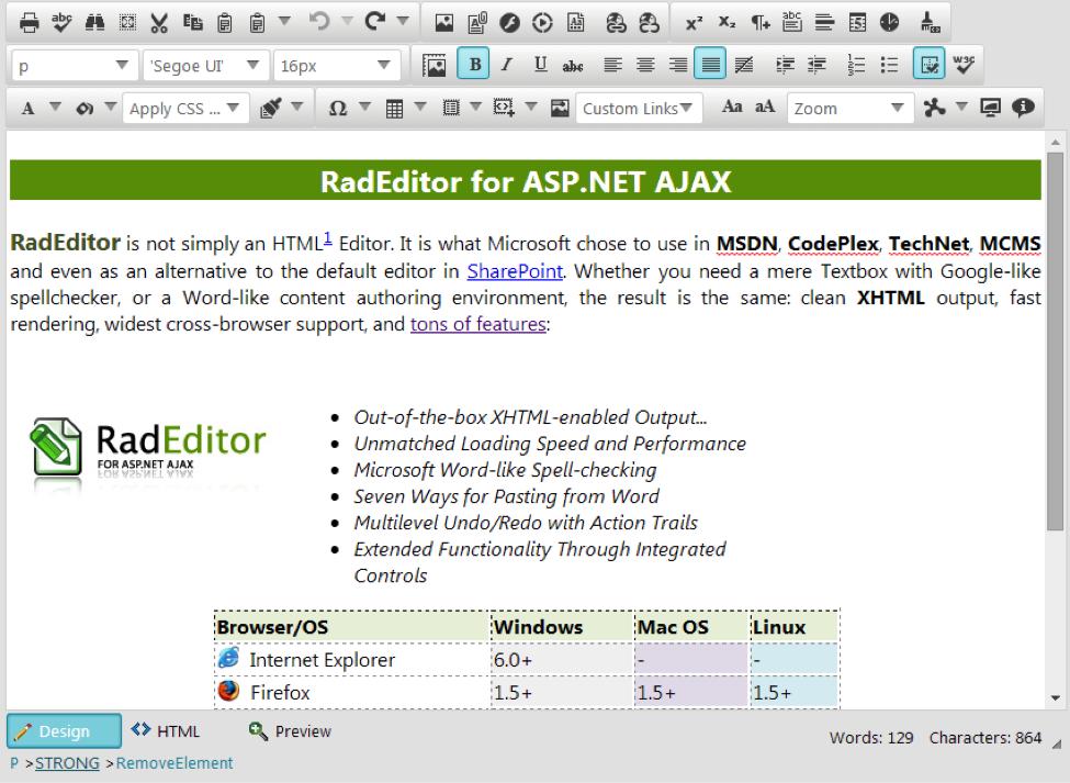 Telerik UI for ASP.NET AJAX RadEditor Control
